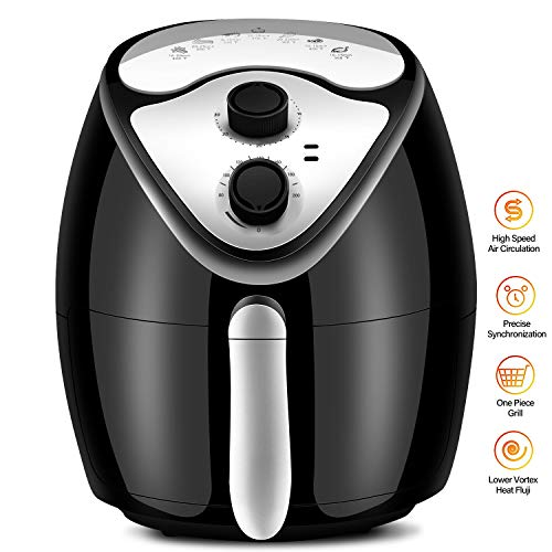 Air Fryer, Clikon 2.6 Quart Air Fryers Oven with Dual Control Temperature Healthy Oil-Free Airfryer 60 Minute Timer Auto Shut-Off Black