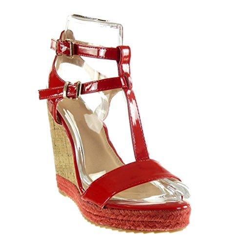 12 Sandali Corda Moda Espadrillas Angkorly Piattaforma Tacco Tanga Scarpe Zeppe Rosso Cinturino Zeppa Donna cm Sughero w0ABAnxO5