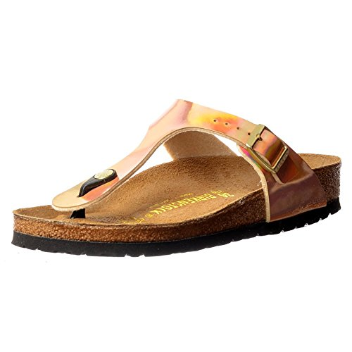 Birkenstock Classic Gizeh Birkoflor -Standard Fitting Buckled Toe Post Thong Style - Flip Flop Sandal Ice Pearl Onyx UK4 - EU37 - US6 - AU5 Mirror Rose Gold ()