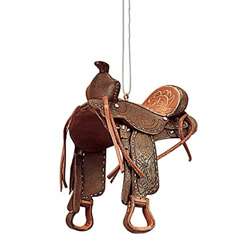 GALLERIE II Western Saddle Horse Brown Leather Polyresin Equestrian Decorative Christmas Xmas Hanging Handcrafted Ornament Brown