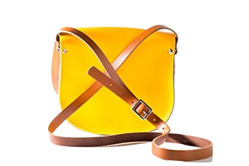 Gelb und Tan Zwei Farbe / Dual / Kontrast / Echtes Leder Sattel Crossbody Handtasche mit Wšlbungs-Verschluss und justierbarem BŸgel. In vielen Kombinationen erhŠltlich