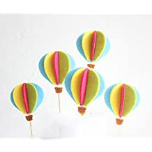 3D Cute Colorful Hot Air Balloon Cake Toppers - for Engagements Weddings Anniversaries Birthday Parties - Party Decorations - Set of 5