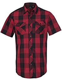 mens Buffalo Plaid Short Sleeve Shirt (9203)