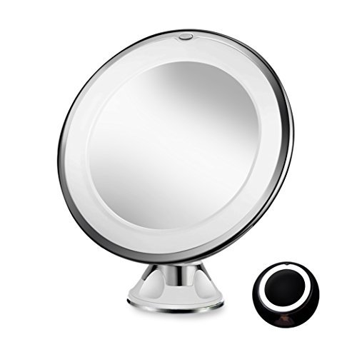 Sayard 10X Magnifying Lighted Vanity Makeup Mirror with Natural White LED, 360 Degree Swivel Rotation and Locking Suction,...