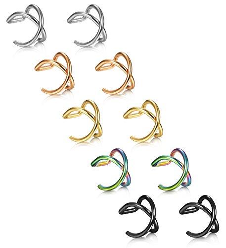 LOYALLOOK+10Pcs+Stainless+Steel+16+Gauge+Cross+X+Ear+Cuff+Cartilage+earrings+Fake+Conch+Piercing+for+Mens+Womens