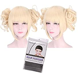 Women Girls Lolita Kawaii Japanese Anime Cosplay Party Cute Adorable 2 Ponytails Wigs with Wig Cap Set