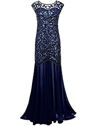 Womens 1920s Beaded Sequin Floral Maxi Long Gatsby Flapper Prom Dress
