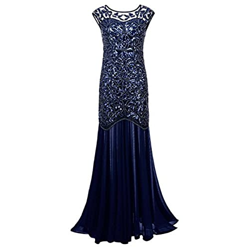 Kayamiya Womens 20s Beaded Floral Maxi Long Gatsby Flapper Prom Dress 2X Blue