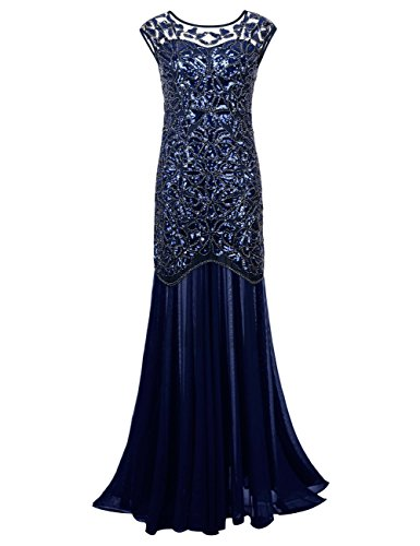 Midnight Blue Wedding Dress - kayamiya Women's 20s Beaded Floral Maxi Long Gatsby Flapper Prom Dress M Blue