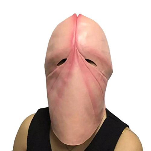 Amiley Penis Dick Mask Halloween Adult Ful Latex Mask Joke Gift Prank Party Costume (Pink)