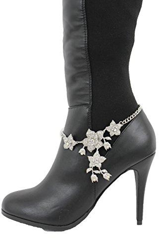 TFJ Women Fashion Boot Bracelet Silver Metal Chain Shoe Anklet Bling Rhinestones Flowers Charm (Celebrity Halloween Party 2017)