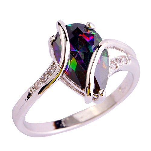Emsione 925 Sterling Silver Plated Created Tear Drop Rainbow Topaz Bypass Swirl Womens Ring