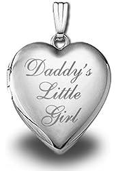 Sterling Silver 'Daddy's Little Girl' Heart Locket Pendant - 3/4 Inch X 3/4 Inch