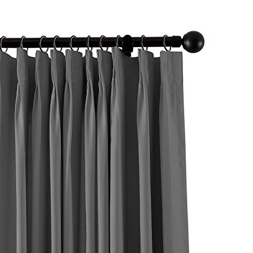 (ChadMade Fireproof Flame Retardant Thermal Insulated Curtain Drapery Panel Pinch Pleat, Grey 84