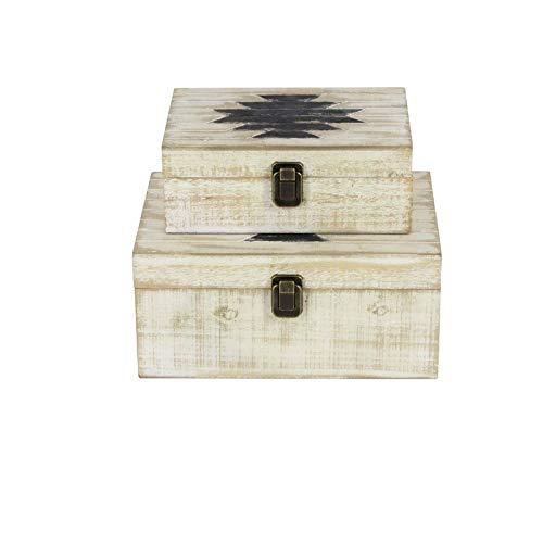 Rustic Square Storage Box with Metal Locks - 2 Piece Solid Wood Storage Box Set - White