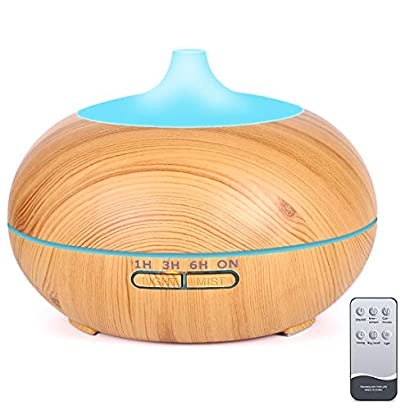 Essential Oil Diffuser, 550ml Wood Grain Multifunctional Ultrasonic Aromatherapy Fragrant Oil Vaporizer Humidifier with Adjustable Mist, 4 Timer Settings, 7 Color LEDs, Waterless Auto Shut-Off … 41BAfGE62DL