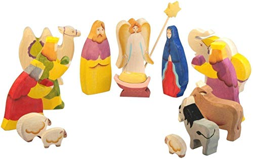 Nativity set for kids - Christmas Scene Figurines Fit into any Display Stable or Creche Three Kings Wisemen