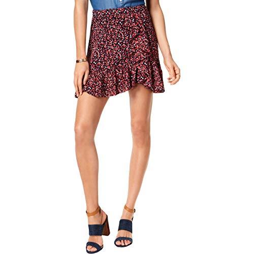 Michael Michael Kors Womens Ruffled Floral Print A-Line Skirt Pink S