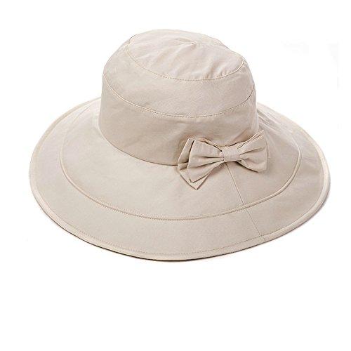 Siggi Womens Summer Bucket Boonie UPF 50+ Wide Brim Sun Hat Cord Cap Beach Accessories Beige