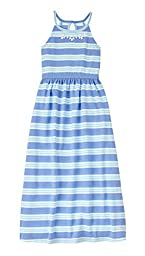 Gymboree Big Girls\' Blue Green Stripe Maxi Dress, Multi, 7