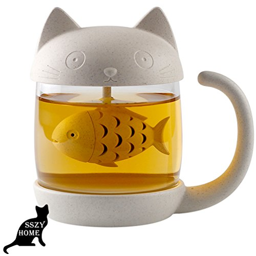 8 5Oz Glass Teacup Cute Cat Tea Cup With Fish Filter Creative Cats Tail Coffee Mug Tea Lovely Cup Present For Children Child Christmas 7 Year Old Girl Gifts Classmates Homies Teacher Back To School