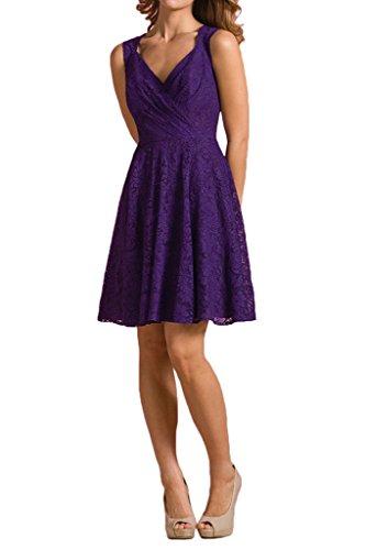 Braut ausschnitt mia linie V La Partykleider Dunkel Rock Lila Brautjungfernkleider Spitze A Traube Abendkleider qpxfC6