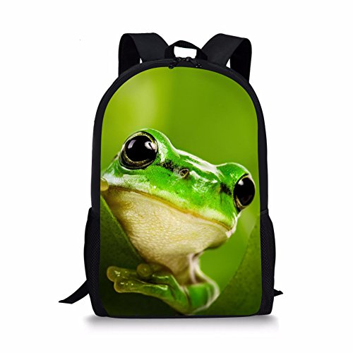 Teens Durable School Bag Fashion Student Bookbags Lightweight Backpack Frog Print