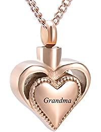 Memorial Jewelry Engravable Heart Cremation Ashes Necklace Urn Pendant Keepsake