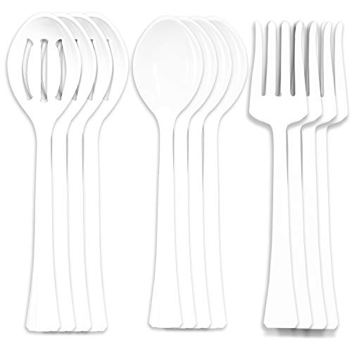 12 White Plastic Serving Utensils 11.5