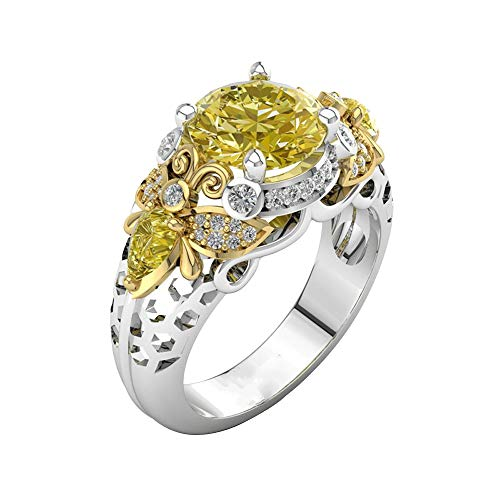 (Chaofanjiancai Women Rings,Round Cut Bee Pattern Encrusted Diamond Eternity Wedding Band Yellow Rhinestone Diamond Ring)