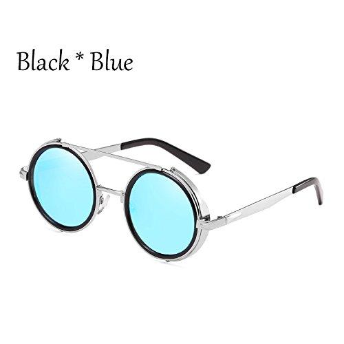 De Redonda Espejo Mujer Sol De Sol Moda Gafas De TIANLIANG04 Mirror Hombre Aleación Marco Plata De Gafas Blue C6 De C5 PZqOY