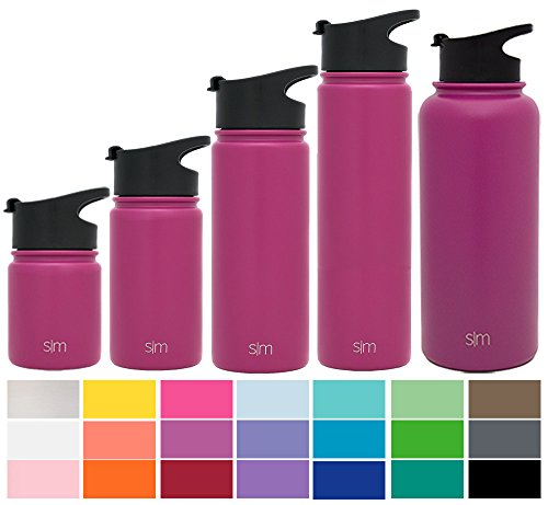 Orchid Metal - Simple Modern 40 oz Summit Water Bottle - Stainless Steel Hydro Metal Flask +2 Lids - Wide Mouth Double Wall Vacuum Insulated Orchid Large 2 Liter Half Gallon Cold Leakproof Thermos - Purple
