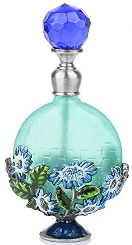 YU FENG Vintage Magical Green Flower Refillable Empty Crystal Perfume Bottle Handmade Home Decor Lady Wedding Gift
