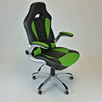 Racing Style Swivel Chair Computer Desk Chair Lumbar Support Reclining Chair Green
