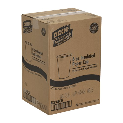 Georgia-Pacific-Dixie-PerfecTouch-5338CD-Coffee-Design-Insulated-Paper-Hot-Cup-8oz-Case-of-20-Sleeves-50-Cups-per-Sleeve