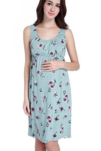 Cotton Hospital Gowns - CAKYE Maternity Nursing Nightgown Pajamas Sleepwear For Breastfeeding (Medium, Powder Blue)