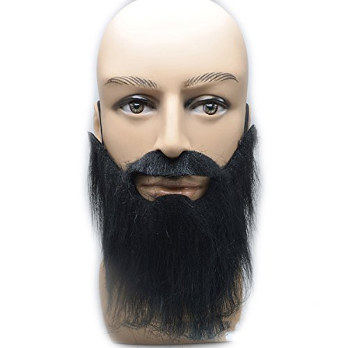 OULII Fake Beard and Self Adhesive Fake Mustache Adults Cosplay Costume Accessory -