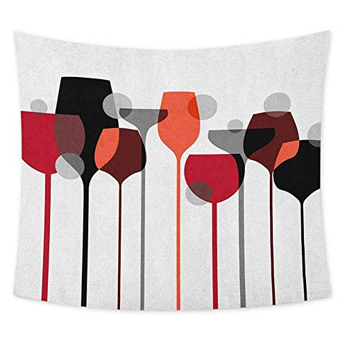 jecycleus Wine Tie Dye Tapestry Wall Hanging Stylized Abstract Wine Glasses Silhouettes with Dots Alcohol Drink Modern Artistic Wall Art for Living Room Hanging W60 x L40 Inch Red Grey Black (Dye Tie Wine Glasses)