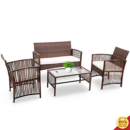 Suwikeke 4 Pieces Furniture Rattan Chair & Table Patio Set Outdoor Sofa for Garden, Backyard, Porch and Poolside, Brown,