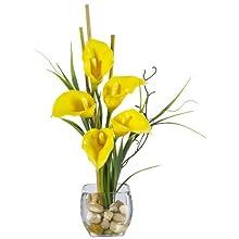 Nearly Natural 1118-YL Calla Lilly Liquid Illusion Silk Flower Arrangement, Yellow