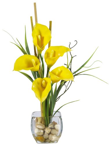 Nearly Natural 1118-YL Calla Lilly Liquid Illusion Silk Flower Arrangement, Yellow