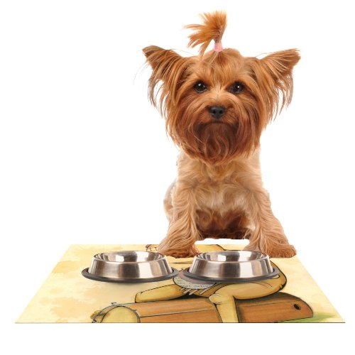 Kess InHouse Matthew Reid In All The While  Feeding Mat for Pet Bowl, 18 by 13-Inch