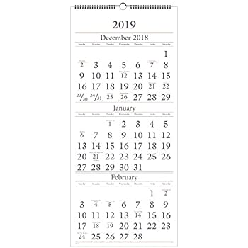 AT A GLANCE 2019 Wall Calendar 3 Month Display 12 X