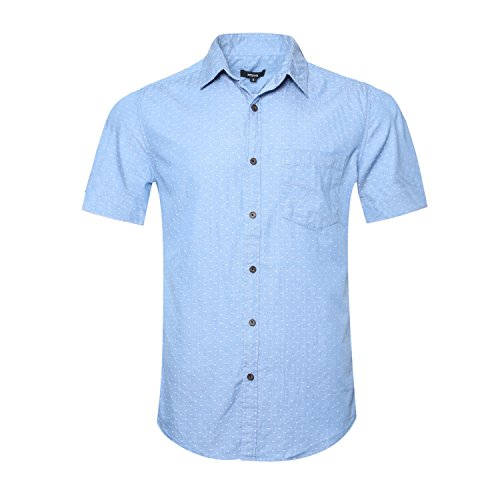 - NUTEXROL Men's Short Sleeve Polka Dot Print Button Down Shirts C-light blue Large