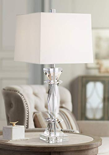 - Irene Traditional Table Lamp Crystal Glass White Fabric Box Shade for Living Room Bedroom Bedside Nightstand Office Family - Vienna Full Spectrum