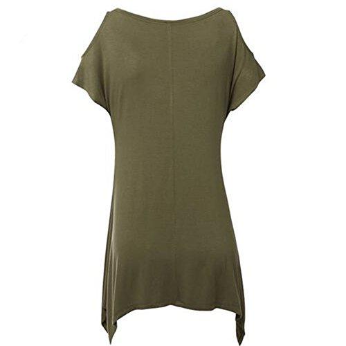 Col Verte Courte Chemise t Newbestyle shirt Hors paule Rond Manche Arme Femme T wzqp47q