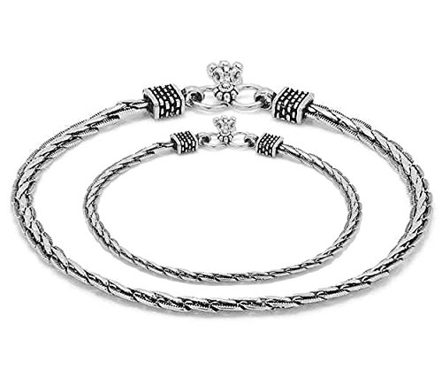 D&D Crafts Oxidized Silver Tone Sterling Silver Anklet For Girls, Women by D&D (Image #1)