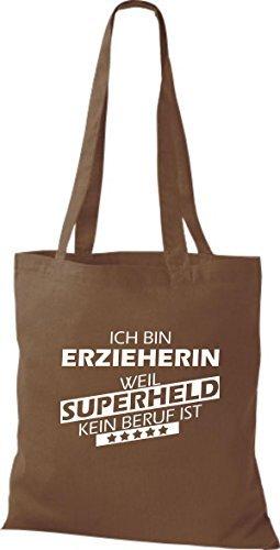 Shirtstown Bolso de tela Estoy Educador de, weil Superheld sin Trabajo ist marrón medio