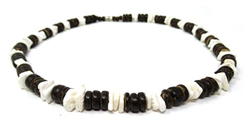 (Exotic & Trendy Jewelry, Books and More Puka Necklace-18 Inch-Surfer Necklace-Tropical Necklace-Beach Necklace - Shell Necklace-Hawaiian Necklace-Beach Necklace (Brown Wood & White Shells))
