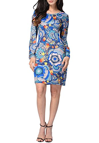OMZIN Women's Long Sleeve Floral Bodycon Cocktail Party Summer Dress Blue XXL